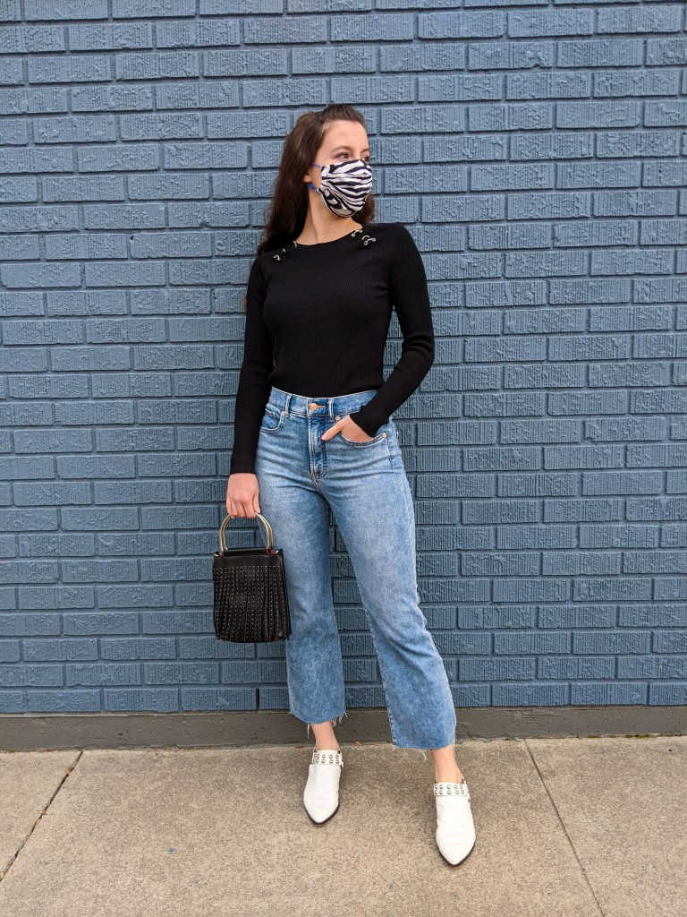 black-sweater-fringe-purse-mom-jeans-express-cropped-white-mules