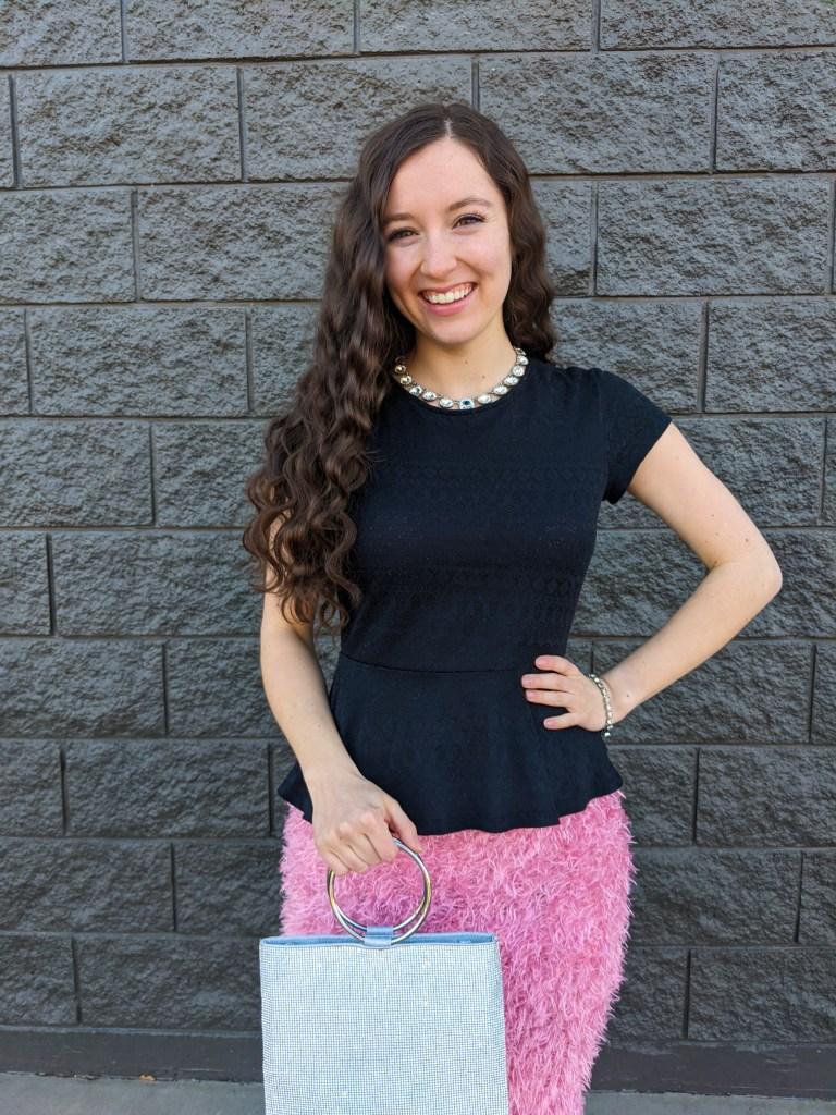 silver-ring-purse-crimped-hair-black-peplum