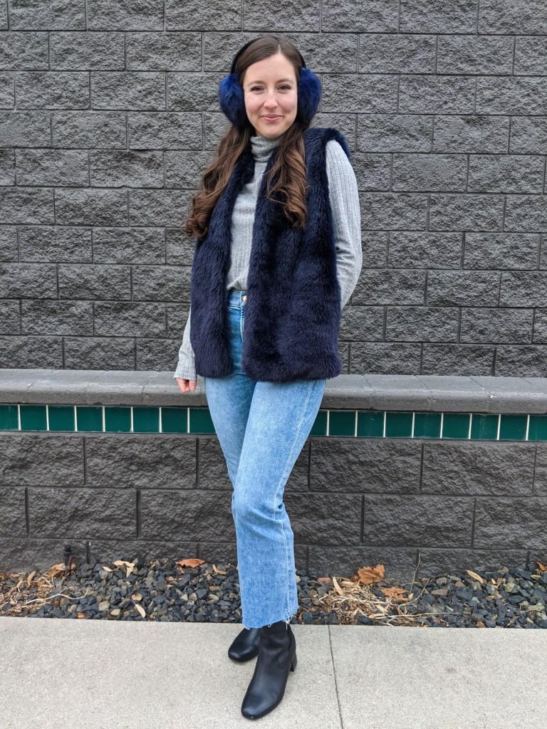blue-fur-vest-mom-jeans-earmuffs-grey-turtleneck