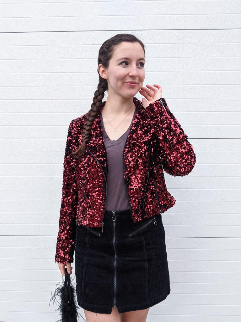 red-moto-jacket-sequins-grey-tee-black-corduroy-skirt
