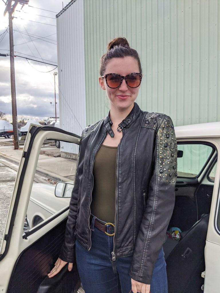 olive-green-bodysuit-leather-studded-jacket-loft-sunglasses