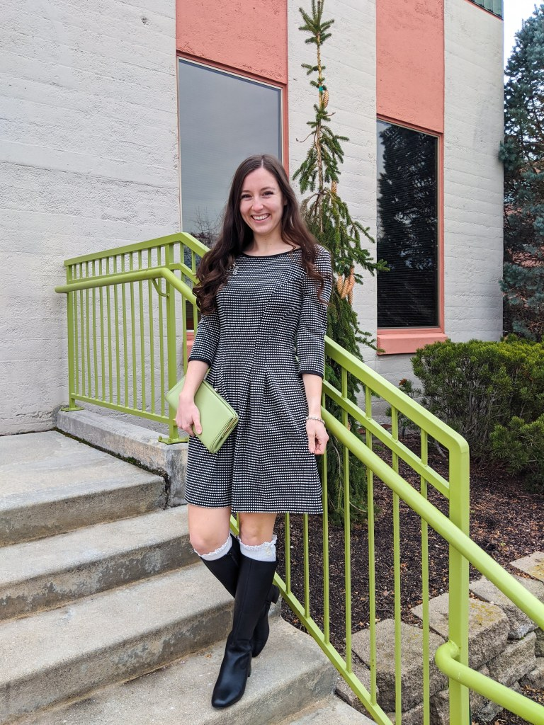 old-fashioned-dress-green-clutch-knee-boots