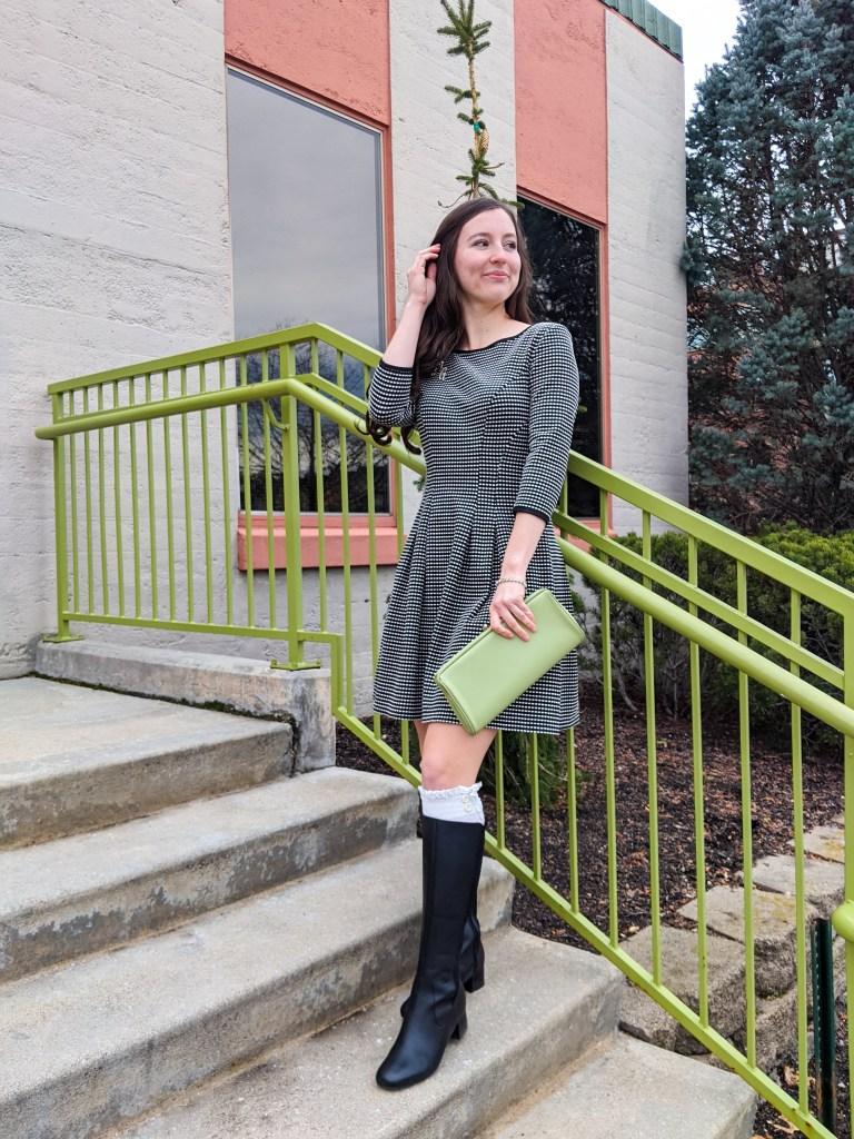 fit-and-flare-dress-black-knee-boots-clarks-dsw