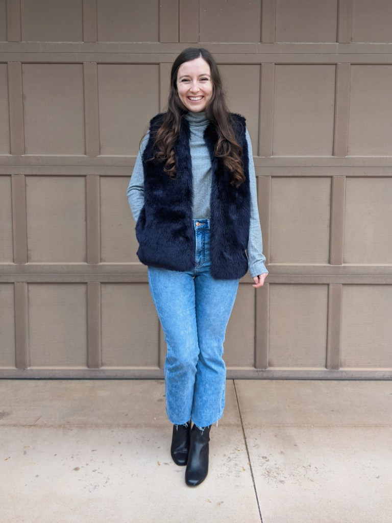 blue-fur-vest-express-cropped-jeans-grey-turtleneck