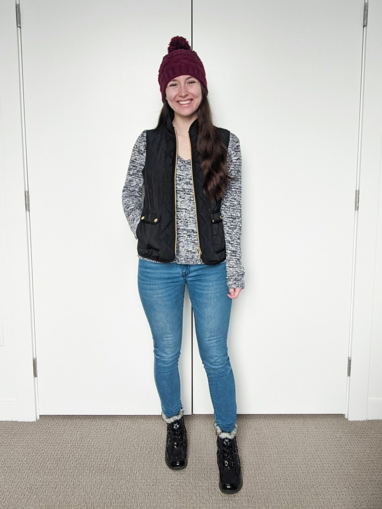 vneck-sweater-black-quilted-vest-maroon-beanie-skinny-jeans-snow-boots