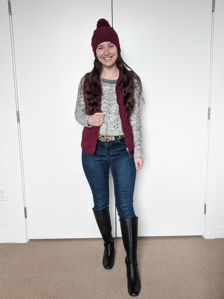 maroon-vest-maroon-beanie-black-knee-boots-grey-sweater