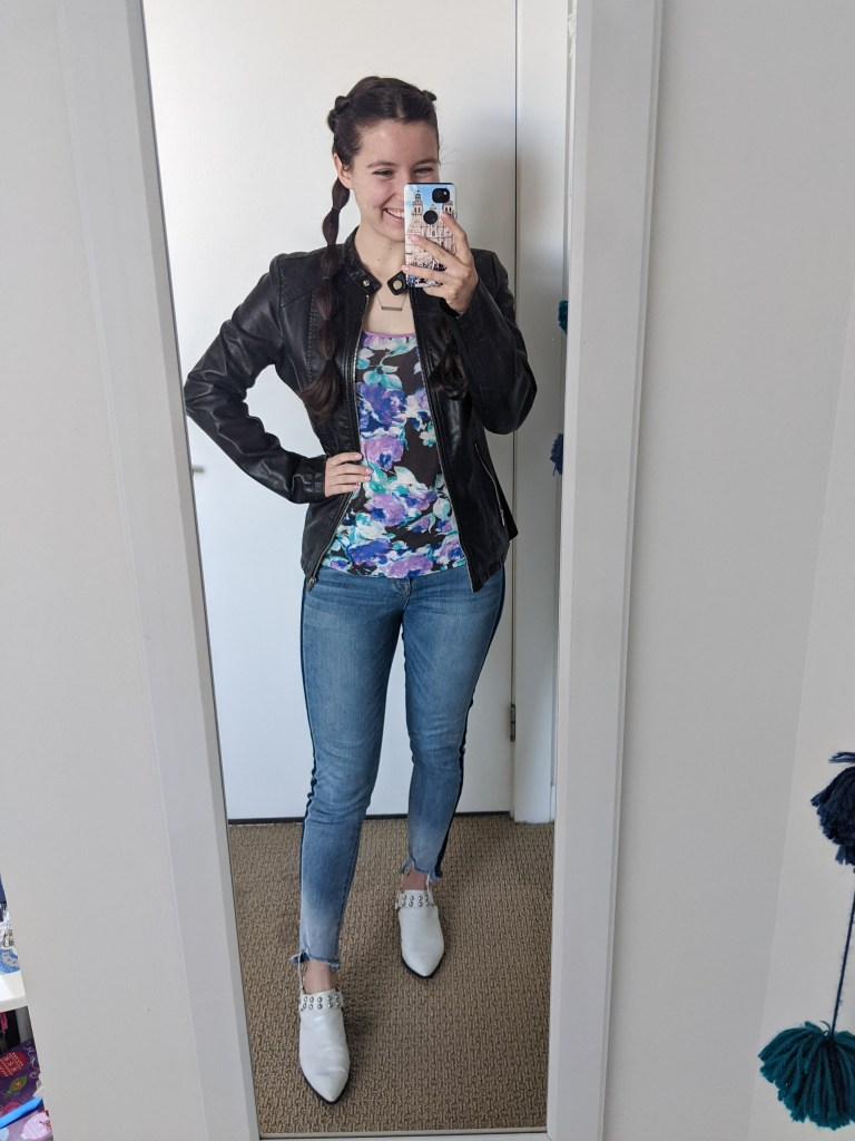 bubble-braids-floral-tee-leather-jacket-white-mules