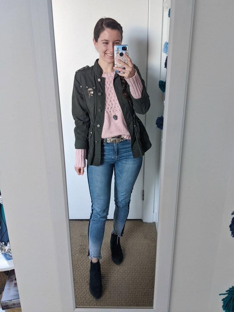 pink-sweater-utility-jacket-tuxedo-stripe-jeans