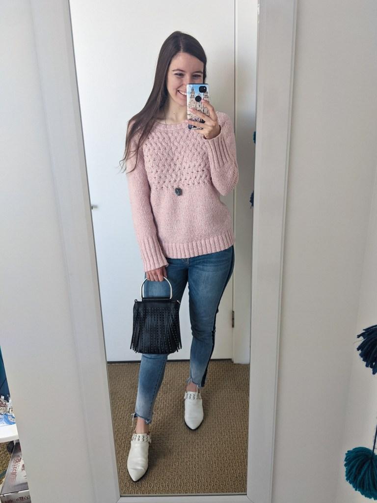 pink-sweater-tuxedo-stripe-jeans-white-mules-black-fringe-purse