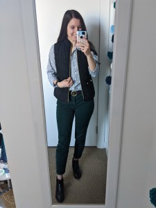collared-shirt-black-vest-green-pants