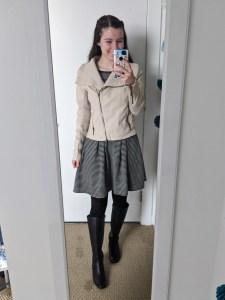 beige-jacket-patterned-dress-black-tights-black-knee-boots