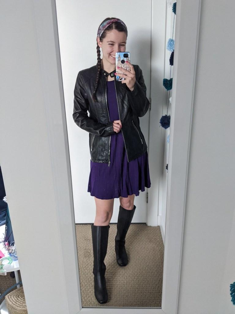 purple-dress-black-leather-jacket-black-knee-boots