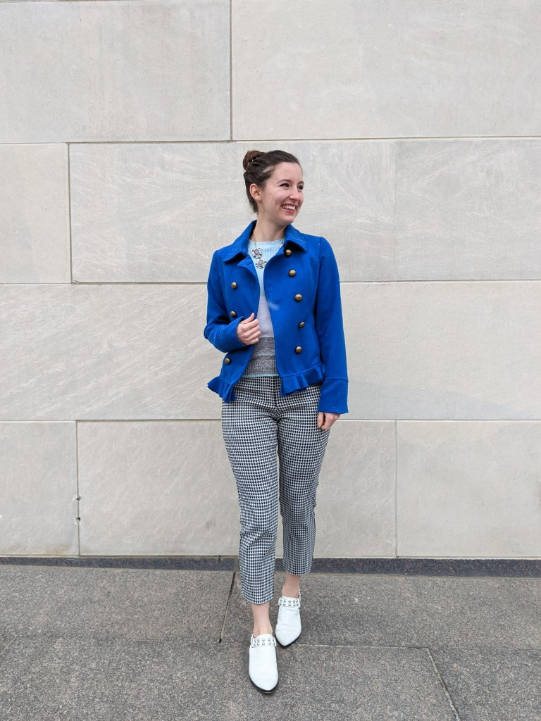 cobalt-blue-coat-peacoat-houndstooth-pants-white-mules
