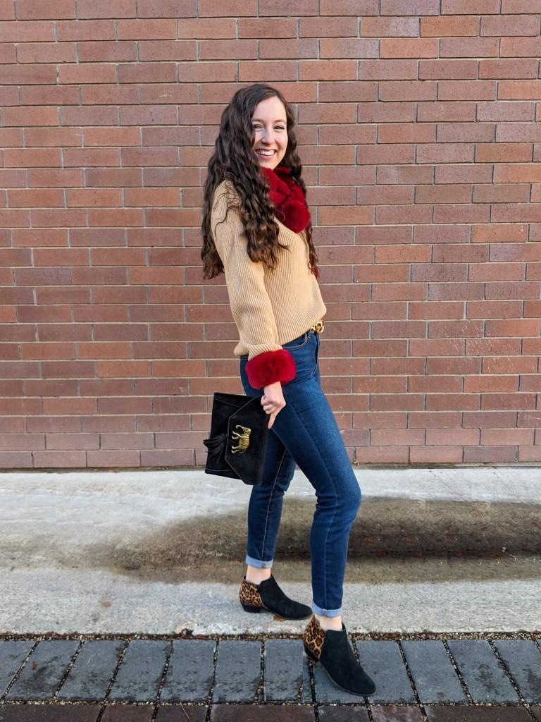 camel-red-elephant-purse-leopard-booties-faux-fur