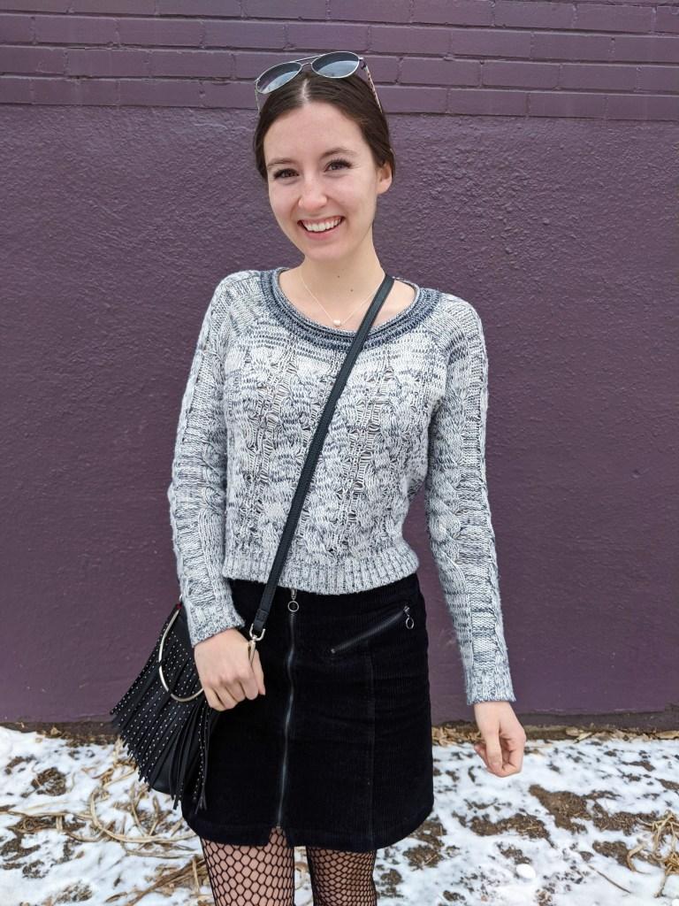 grey-cropped-sweater-black-fringe-purse-fishnet-tights