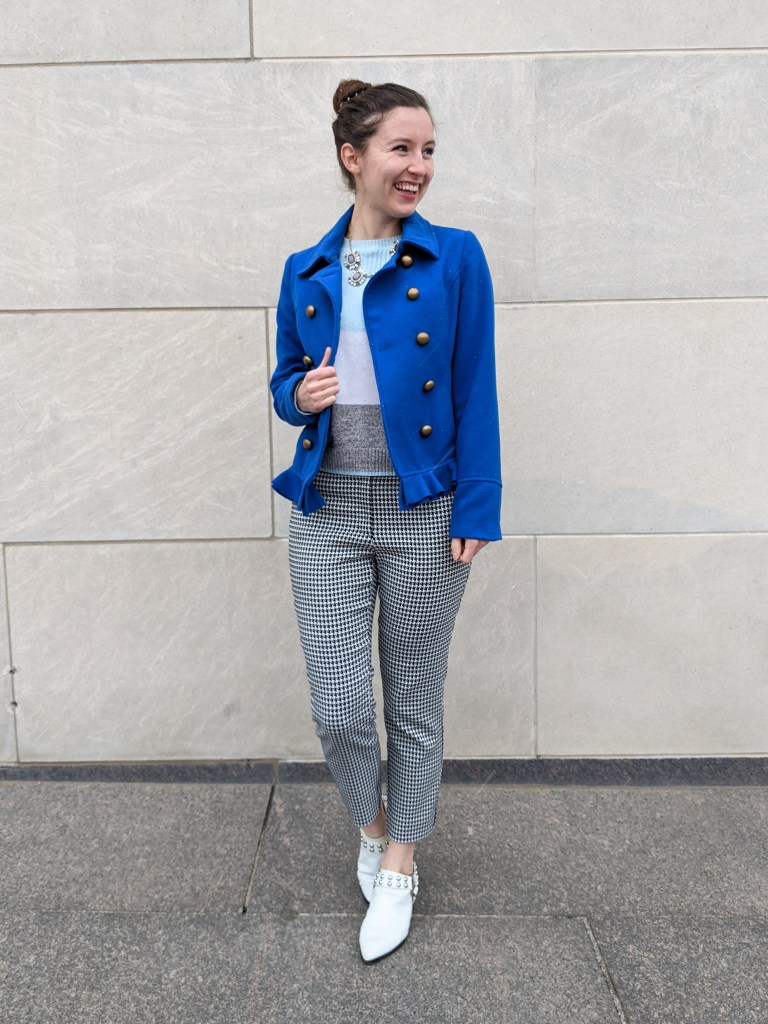 white-mules-houndstooth-pants-blue-coat-striped-sweater