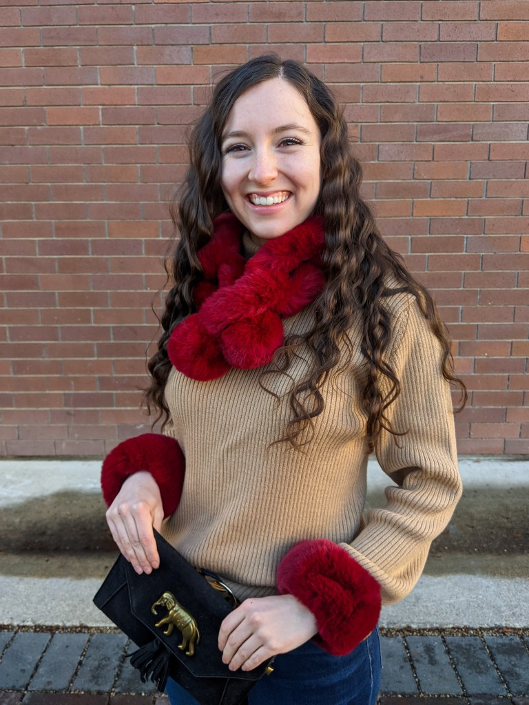 red-faux-fur-scarf-cuffs-sweater-weather-crimped-hair
