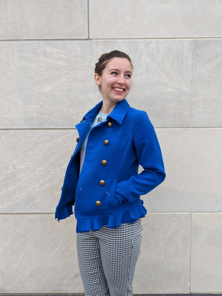 gold-buttons-peacoat-houndstooth-pants-work-attire
