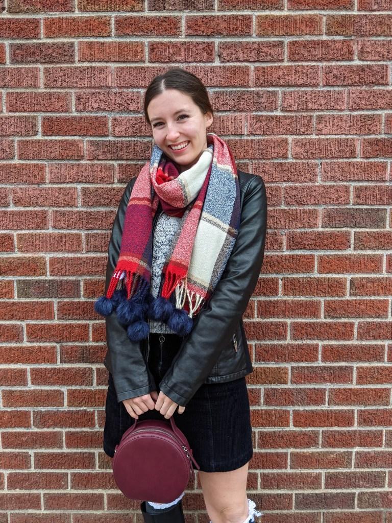 plaid-scarf-circle-purse-black-pleather-jacket
