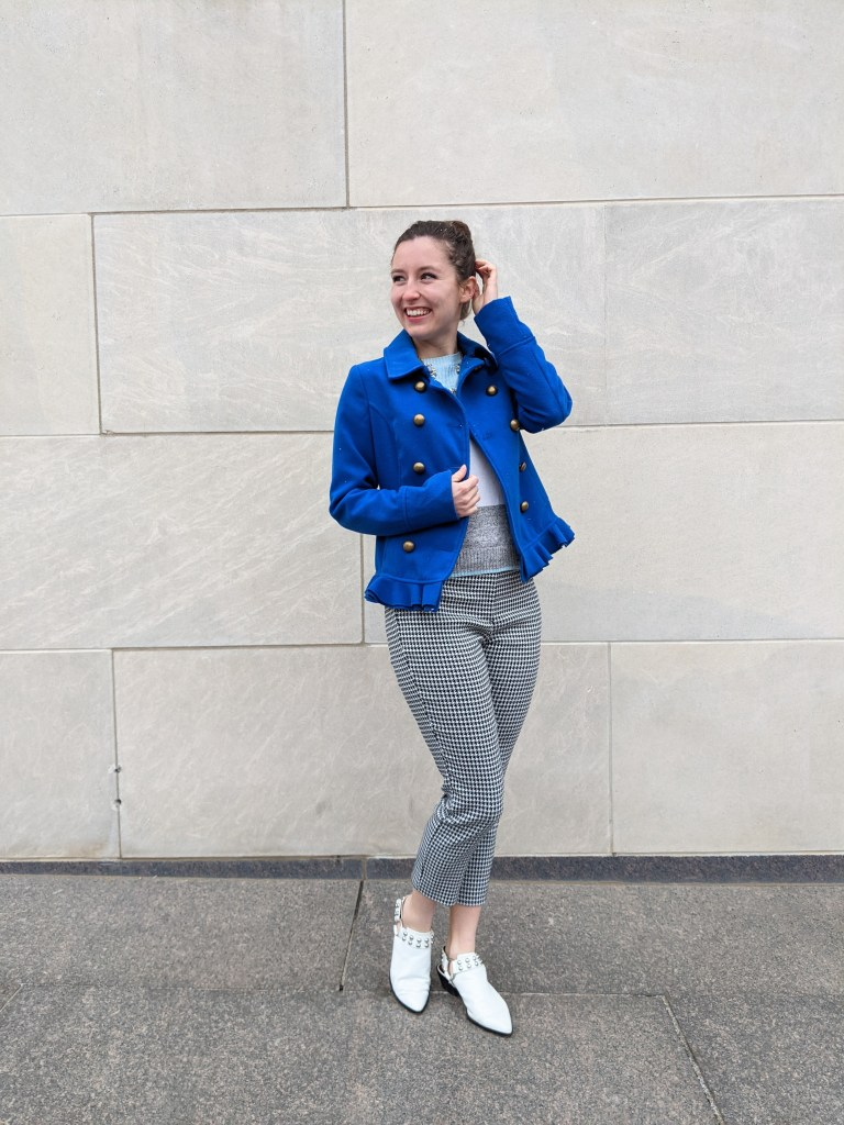 white-mules-houndstooth-pants-blue-statement-coat