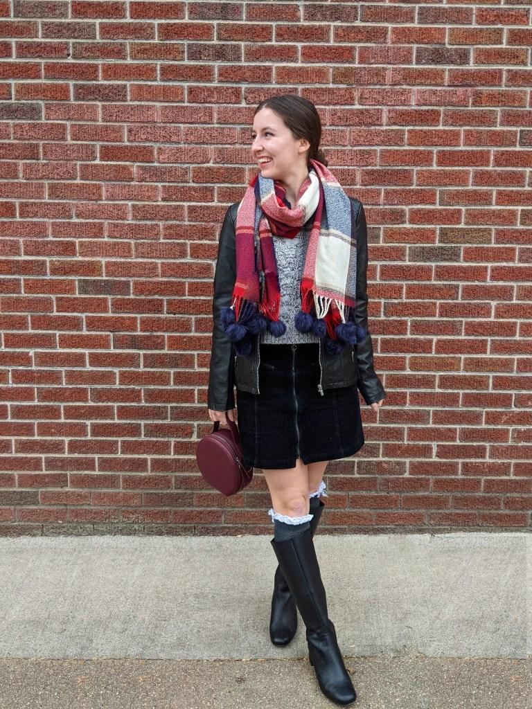 black-skirt-blanket-scarf-grey-sweater-winter-style