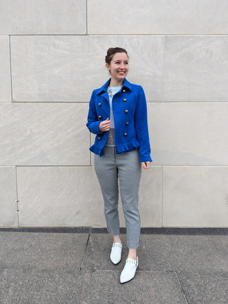white-mules-houndstooth-pants-blue-coat-statement-necklace