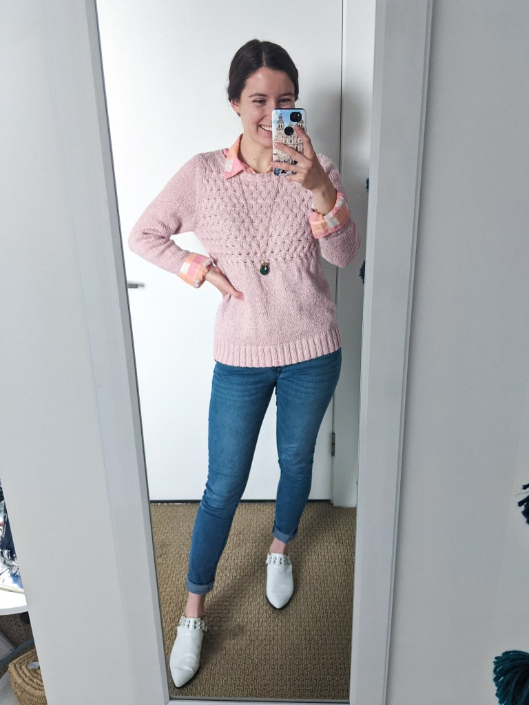 pink-sweater-Valentine's-Day-outfit-preppy-collared-shirt