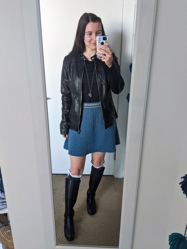 black-top-blue-skirt-knee-socks-black-knee-boots-pleather-jacket