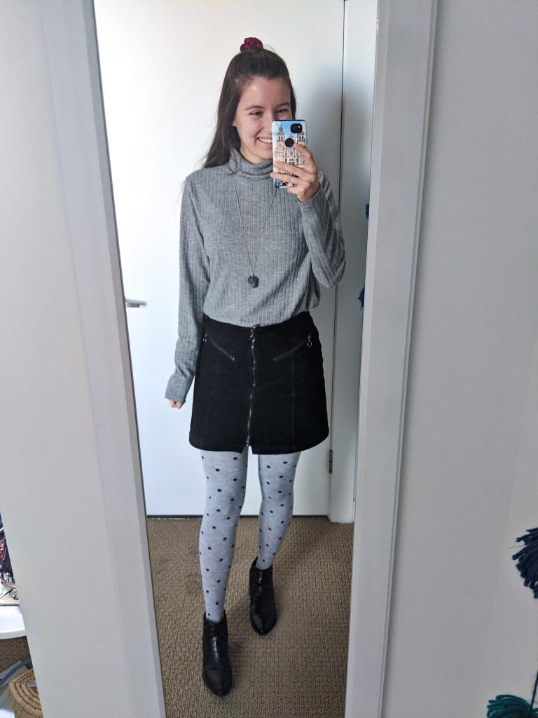 grey-turtleneck-black-corduroy-skirt-polka-dot-tights-black-booties