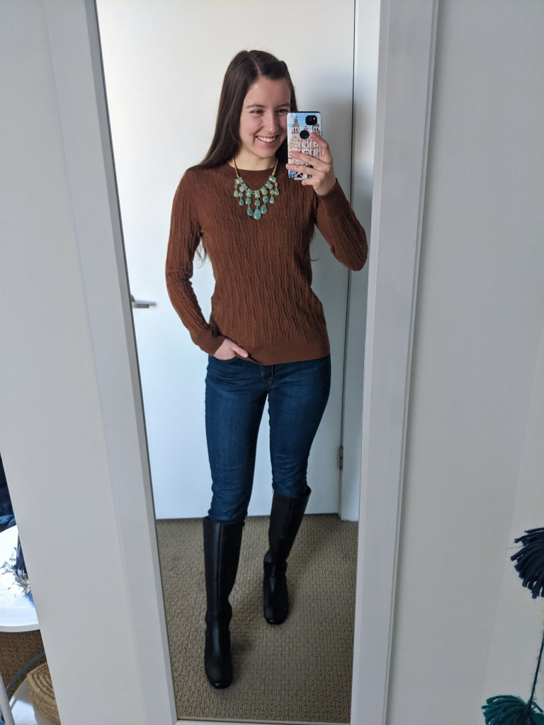 brown-cableknit-sweater-green-statement-necklace-skinny-jeans