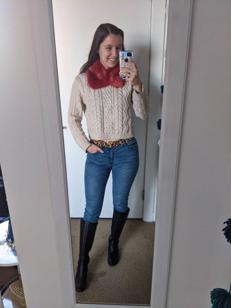 faux-fur-collar-beige-sweater-black-knee-boots
