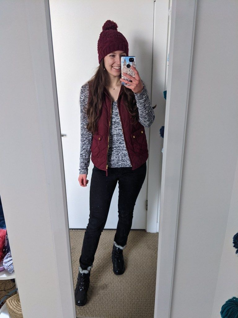 maroon-beanie-quilted-vest-sweater-weather