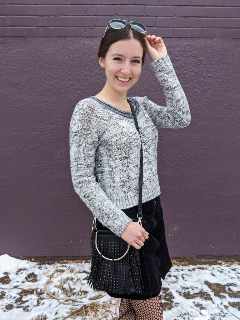 aviators-black-fringe-purse-grey-sweater-black-corduroy-skirt