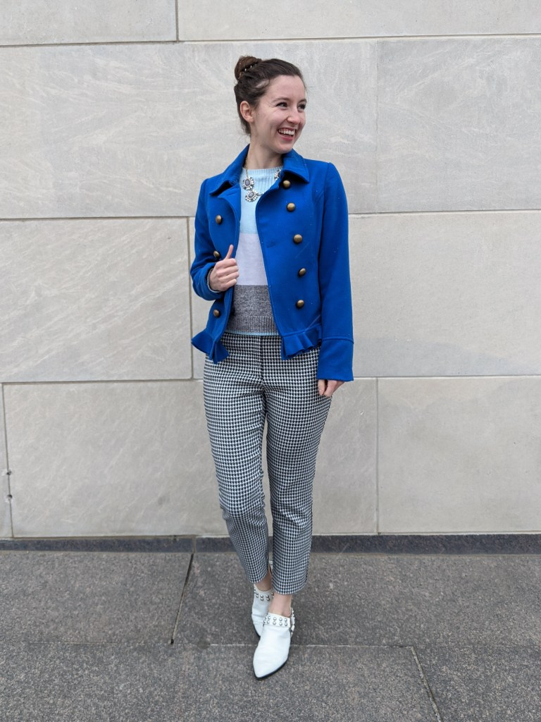 houndstooth-pants-blue-peacoat-white-mules