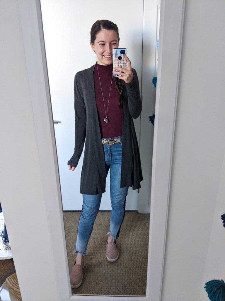 mockneck-duster-cardigan-tuxedo-stripe-jeans-steve-madden-sneakers