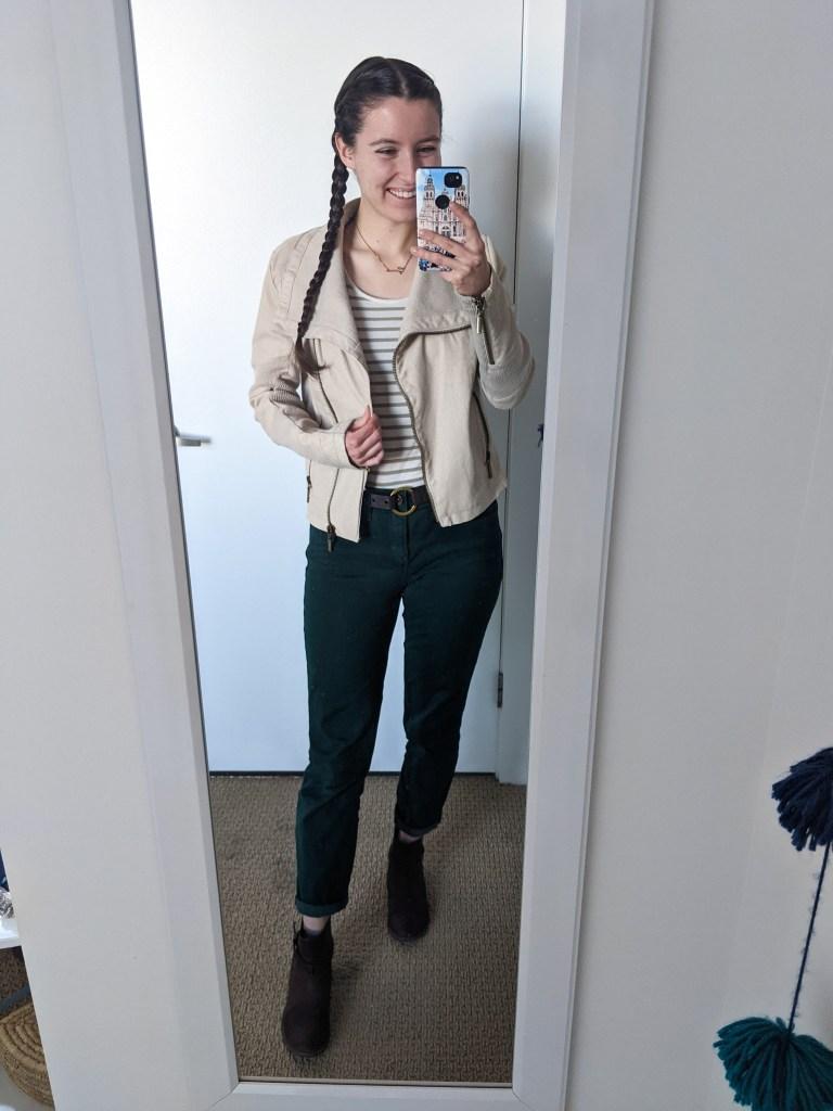 down-east-style-green-stripe-tee-green-pants-beige-jacket