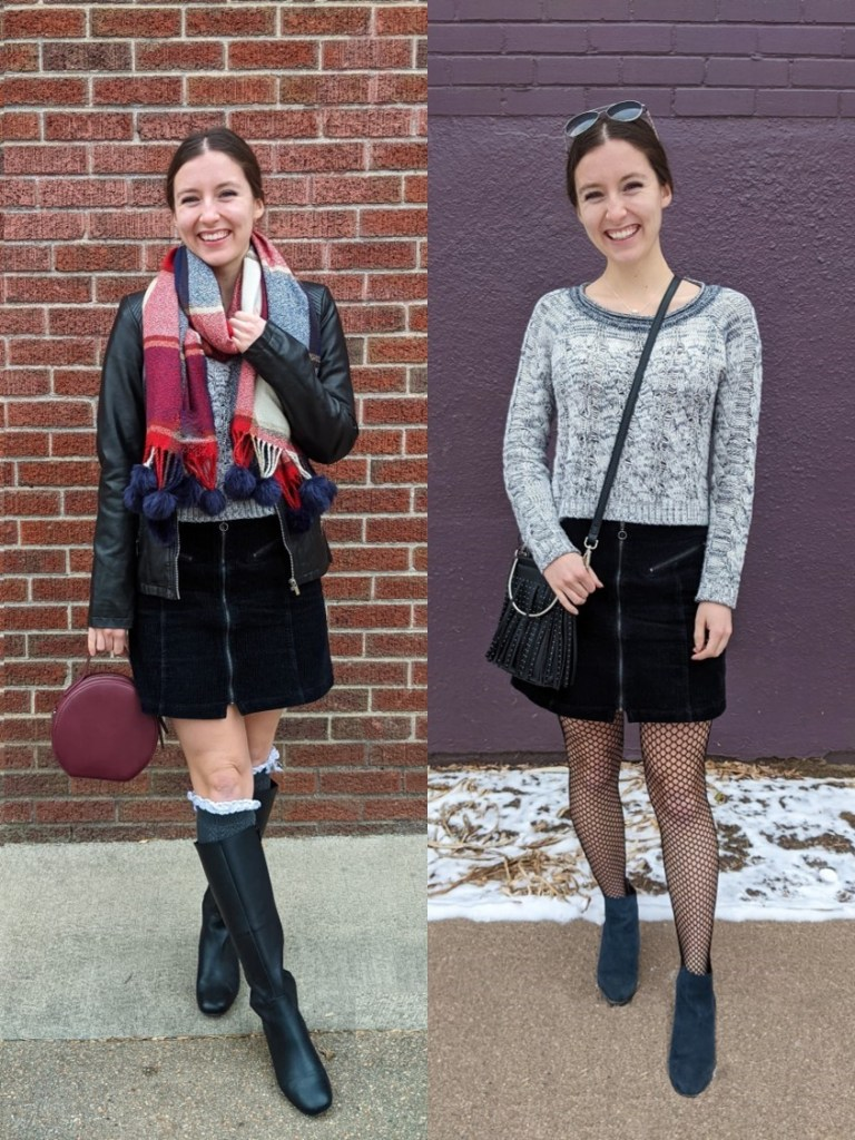grey-sweater-two-ways-black-corduroy-skirt