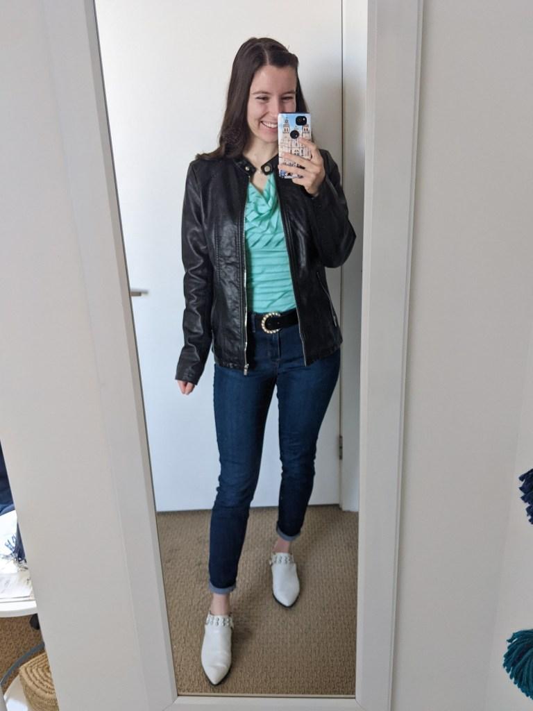 turquoise-cowl-blouse-black-leather-jacket-white-mules