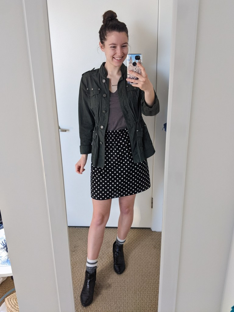 polka-dot-skirt-grey-tee-utility-jacket