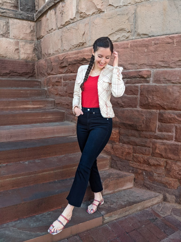 cropped-flared-jeans-express-red-top-tweed-blazer