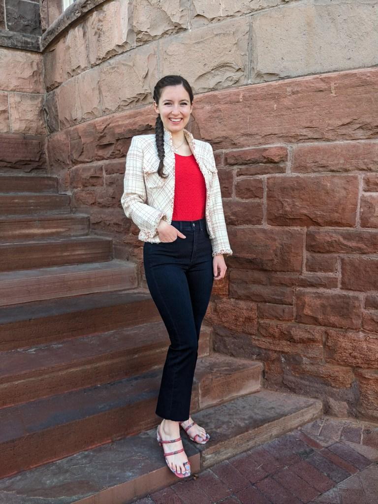 red-blouse-thrifted-blazer-darkwash-jeans-snakeskin-sandals