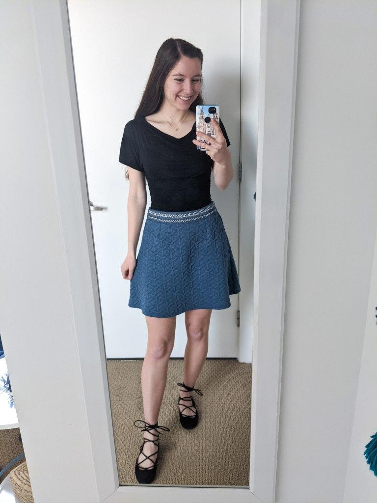 black-blouse-blue-skirt-lace-up-flats-chic
