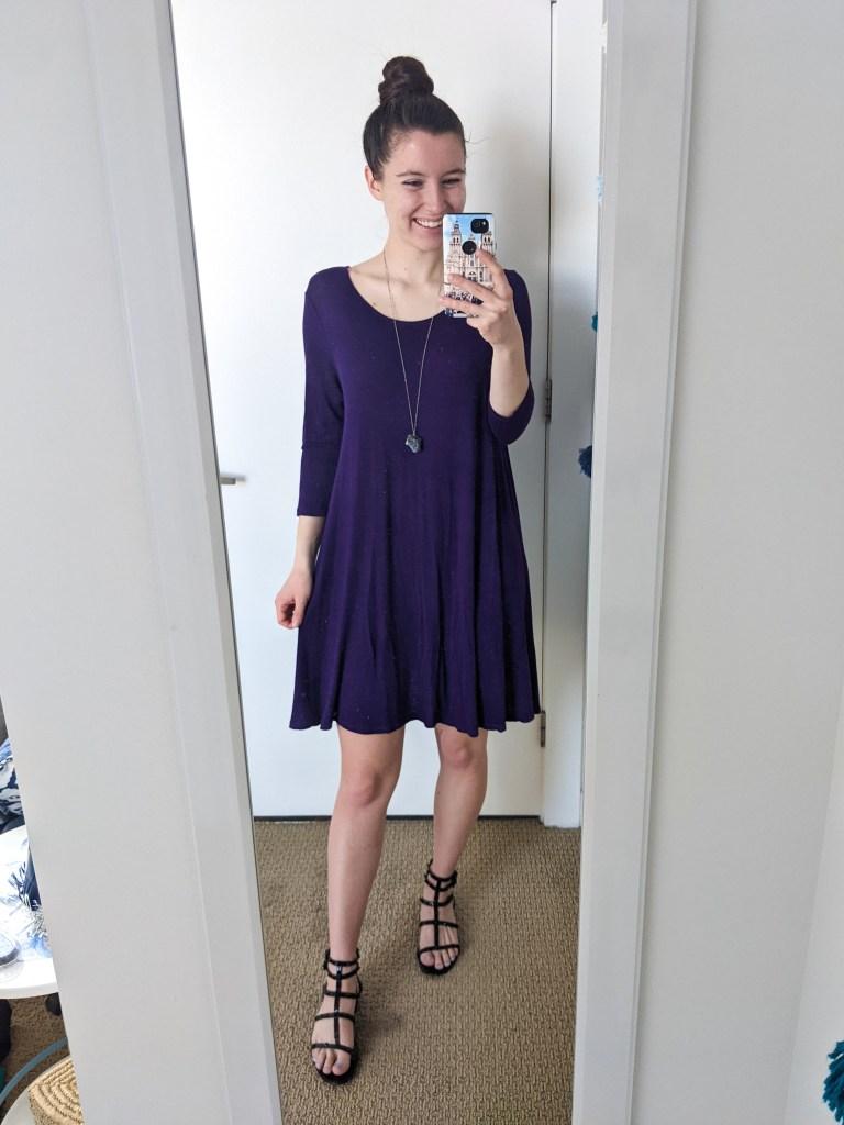 purple-swing-dress-black-gladiator-sandals-pendant-necklace