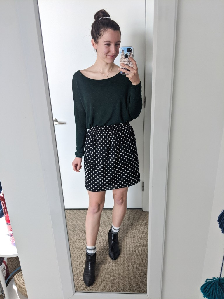 green-tee-polka-dot-skirt-black-booties