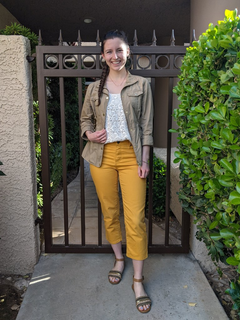 mustard-pants-beige-anorak-crochet-top-spring-outfit