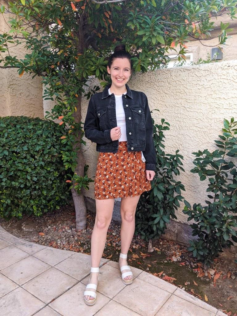 black-cropped-jean-jacket-topshop-white-tee-floral-skirt-orange