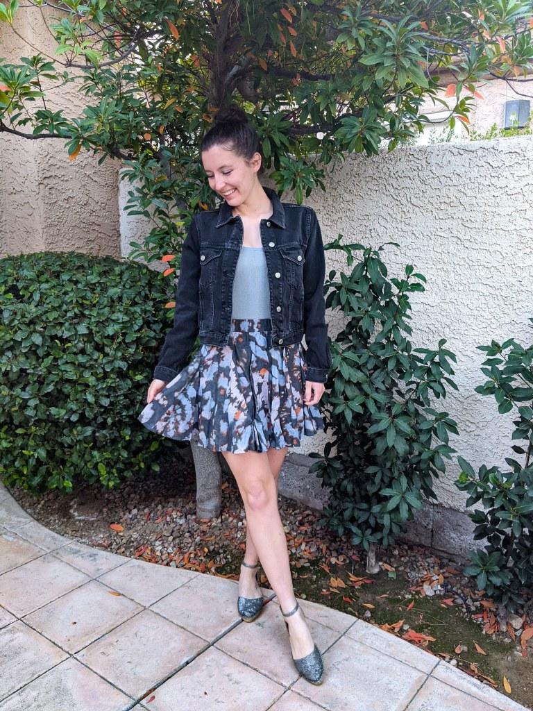 black-jean-jacket-blue-bodysuit-floral-free-people-skirt-spring-outfit