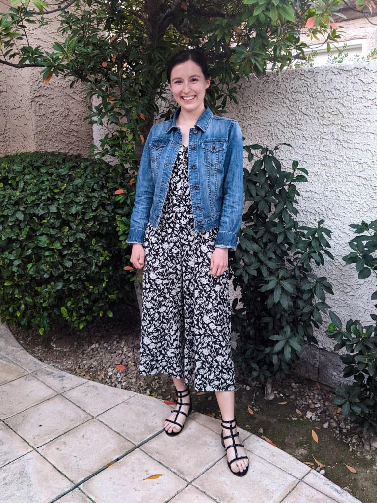floral-jumpsuit-francescas-jean-jacket-black-sandals