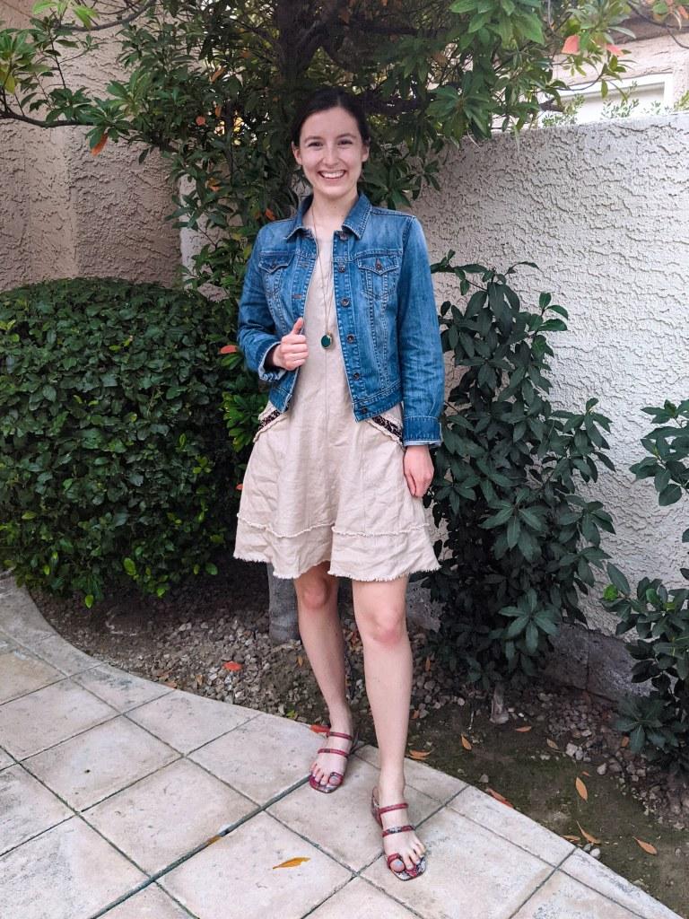 jean-jacket-beige-dress-leopard-print-snakeskin-shoes