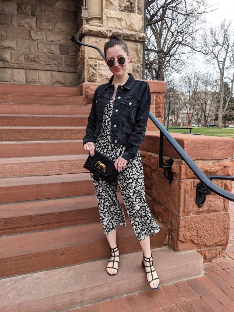 black-denim-jacket-floral-jumpsuit-elephant-purse